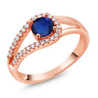 0.95 Ct Round Blue Simulated Sapphire 18K Rose Gold Plated Silver Ring