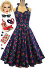50s Style Eleanor Paige PINUP Blue Cherry Print SWEETHEART Bust HALTER SunDress