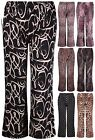 Womens Plus Size Animal Spot Printed Ladies Stretch Palazzo Pants Long Trousers