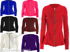 Women Ladies Plain Zip Peplum Frill Tailored Blazer Jacket Coat Plus Size 8--24
