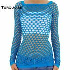 O/S S M L Sexy Fish Net Shirt Club Wear Long Sleeve GOGO Dance Top Blouse