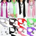 8 Color Women Shawl Wrap Necklace Scarves Vintage White Pearl Pendant Rhinestone