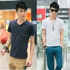 New Men's Short Sleeve Tee Shirts Slim Fit Casual V-neck T-Shirts Tops 4 Sizes