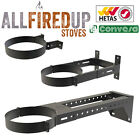 "Convesa 5"" Or 6"" Adjustable Wall Brackets Twin Wall Insulated Flue Pipe Black"