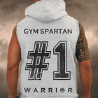 Mens Gym Spartan Sleeveless Hoodie #No1 fitness Sports Athletics MMA Hoody Gilet