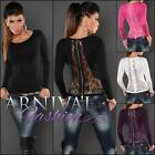 NEW SEXY WOMEN'S FASHION lacy JUMPERS shop online lady KNIT LACE TOP PULLOVERS
