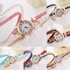 Fashion Womens Girl Mixed color Leather Bracelet Analog Quartz Dial Wrist Watch