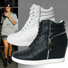 AnnaKastle New Womens Faux Leather Zip Detail Wedge Sneaker Trainer US 5 6 7 8