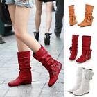 Cute Women's Low Heel Mid-Calf Bowknot Boots Shoes US All Size Newest Style Pop