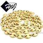 """18-40""""MEN Stainless Steel 10x3mm Gold Puffed Gucci Link Chain Necklace Bracelet"""