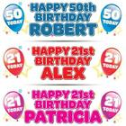 "2 x PERSONALISED BIRTHDAY BANNER 3ft - 36 ""x 11"" 1st 18th 21st 30th 40th - TODAY"