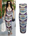 LADIES WOMENS CELEBRITY KIM KARDASHIAN STRIPE AZTEC PRINT LONG SLIM MAXI DRESS