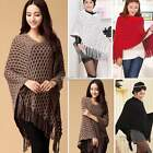 Poncho Jumper Womens Knitted Cape Sweater Winter Top Check Pullover Shawl N98B
