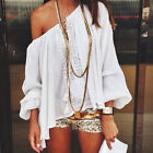 Sexy Womens Lady White off-shoulder Top Casual Tops Blouse Beach T-shirt Loose