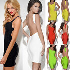 Women's Backless Bodycon Slim Fitting Party Bandage Dress Cocktail MINI Dress