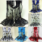 Women Peacock Flower Lace Embroidered Scarf Long Soft Wrap Shawl Stole New Lady