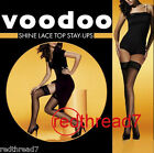 Voodoo Shine Stay Ups Lace Top Sheer Stockings Nude White Black Pantyhose Tights