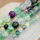 "Natural Colorful Fluorite Gemstones Faceted Round Spacer Beads 15"" 6mm 10mm"