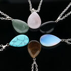 Quartz Crystal Gem Natural Stone Chakra Healing Point Waterdrop Pendant Necklace