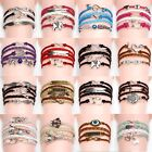 Fashion Women Men Tower Anchor Leather Charm New Infinity DIY Handmade Bracelet