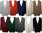 WOMENS LADIES CABLE KNIT KNITTED GRANDAD STYLE LONG SLEEVE CARDIGAN TOP 8-14