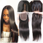 4*4 Peruvian virgin straight lace closure human hair free/middle/3 part New