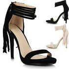 Ladies Women High Heel Fringe Ankle Peep Toe Platform Barely There Sandals Shoes