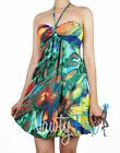 Sexy Halter Style Tie Dye Rasta Summer Party Dress S-XL