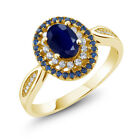 1.62 Ct Oval Blue Sapphire 18K Yellow Gold Plated Silver Women's Engagement Ring