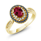 1.54 Ct Oval Red Created Ruby 18K Yellow Gold Plated Silver Ring