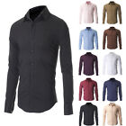 MENS SLIM FIT CASUAL BUTTON DOWN DRESS SHIRTS LONG SLEEVE [10 Colors Select]