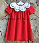 Smocked A Lot Girls Christmas Dress Red Corduroy Holly Berry Scalloped Collar
