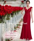 SELINA Red Lace Chiffon Beaded Prom Evening Bridesmaid Ballgown Dress UK 6 - 18