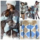 2015 New Genuine Fox Fur Patchwork Fur Coat Blue UK Size 6-12