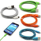 1M/2M/3M Braided Micro USB Data Charger Cable Sync Cord For Samsung Galaxy S3 S4