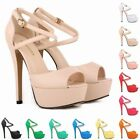 Womens High Heels Open Toe Strappy Platform Matt Leather Sandal Shoes Size 4-11