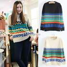 Retro Women Casual Long Sleeve Cable Knitted Knitwear Sweater Pullover Jumper