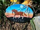 Hand Painted Sorrel Quarter Horse Halloween Trick or Treat Wood Barn Sign