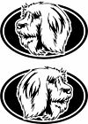 2 Catalan Sheepdog dog breed oval RIGHT  LEFT decals sticker stickers