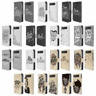 HAND DRAWN TYPOGRAPHY LEATHER BOOK CASE FOR BLACKBERRY ASUS ONEPLUS PHONES