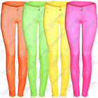 WOMENS LADIES NEON COLOURED SKINNY JEANS DENIM JEAN SLIM FIT STRETCH CROP CHINOS