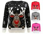 Ladies Women Men Knitted Reindeer Christmas Xmas Chunky Jumper Kids Sweater Top