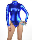 Metallic Blue Mock Neck Long Sleeve Leotard Wet-Look Dance Bodysuit Costume S-3X
