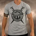 Mens Grey Gym Spartan Swords T Shirt Muscle Top Boxing Fitness Cycling Summer