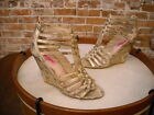 Betsey Johnson Gold Snake Embossed Strappy Wedge Sandals NEW