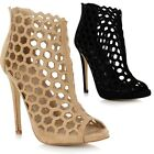 Ladies Women Suede Stiletto High Heel Peep Toe Cut Out Sandals Shoes Ankle Boots
