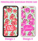 SHABBY CHIC RED PINK ROSE Monogrammed PHONE Case Cover For iPhone X 8 7 6S SE 5