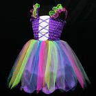 VarWed1444 @ 004 Purple Ballet Skirt Costume Dance X'mas Party Girls Dress 4-9y