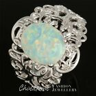 #5-12 10X12 LAB WHITE FIRE OPAL CABOCHON SILVER SF JEWELRY VINTAGE COCKTAIL RING