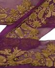 "Antique Vintage Saree Border Hand Beaded Indian Craft Trims Lace 2""W +1 Yard"